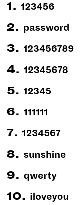 Top 10 Passwords of 1018