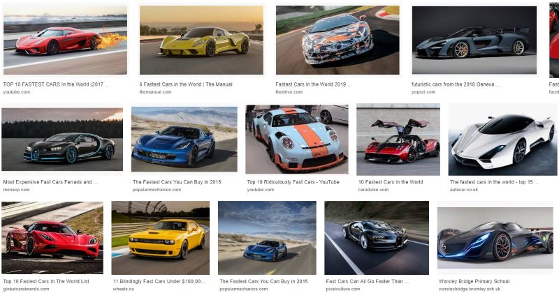 Google Images selection of fast cars