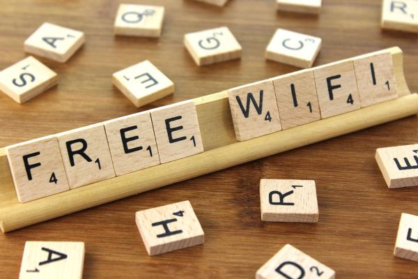 Free Wifi - made with Scrabble tiles