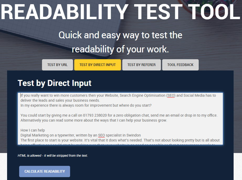 Readability Test at read-able.com