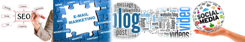 SEO, Email, Blog, Social Media page header