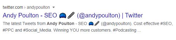 Andy Poulton's Twitter profile
