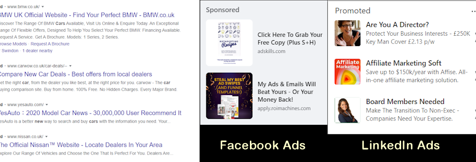 Google Ads, Facebook Ads and Linkedin Ads